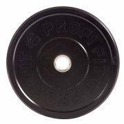 Диск для штанги каучуковый, черный, PROFI-FIT D-51, 15 кг