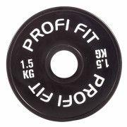 Диск для штанги каучуковый, черный, PROFI-FIT D-51,  1,5 кг