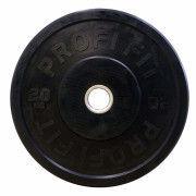 Диск для штанги каучуковый, черный, PROFI-FIT D-51, 20 кг